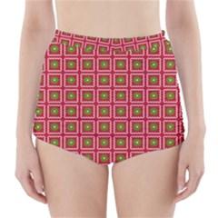 Christmas Paper Wrapping High-Waisted Bikini Bottoms