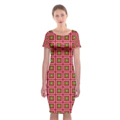Christmas Paper Wrapping Classic Short Sleeve Midi Dress