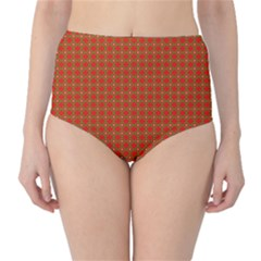 Christmas Paper Wrapping Paper Pattern High-Waist Bikini Bottoms