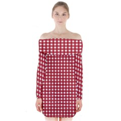 Christmas Paper Wrapping Paper Long Sleeve Off Shoulder Dress