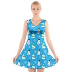 Christmas Pattern V Neck Sleeveless Skater Dress