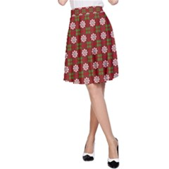 Christmas Paper Wrapping Pattern A-Line Skirt