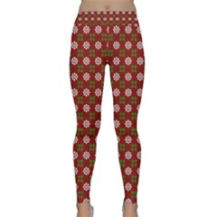 Christmas Paper Wrapping Pattern Classic Yoga Leggings