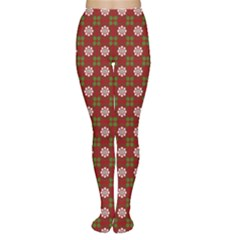 Christmas Paper Wrapping Pattern Women s Tights