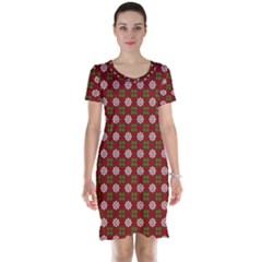 Christmas Paper Wrapping Pattern Short Sleeve Nightdress