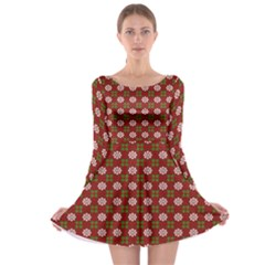 Christmas Paper Wrapping Pattern Long Sleeve Skater Dress