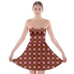 Christmas Paper Wrapping Pattern Strapless Bra Top Dress
