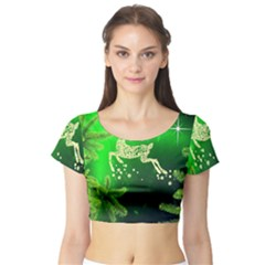 Christmas Reindeer Happy Decoration Short Sleeve Crop Top (tight Fit)