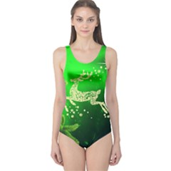 Christmas Reindeer Happy Decoration One Piece Swimsuit