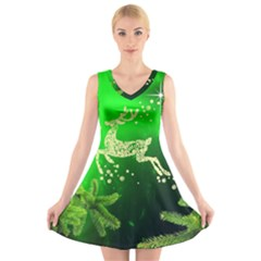 Christmas Reindeer Happy Decoration V-Neck Sleeveless Skater Dress