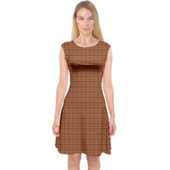 Christmas Paper Wrapping Paper Capsleeve Midi Dress
