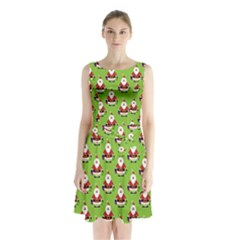 Christmas Santa Santa Claus Sleeveless Chiffon Waist Tie Dress
