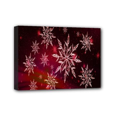 Christmas Snowflake Ice Crystal Mini Canvas 7  x 5