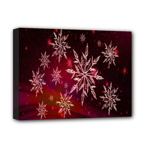 Christmas Snowflake Ice Crystal Deluxe Canvas 16  X 12