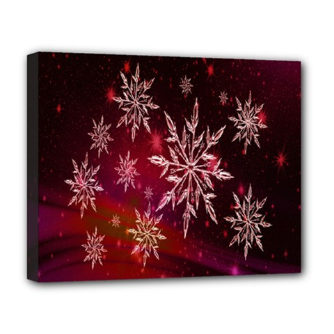 Christmas Snowflake Ice Crystal Deluxe Canvas 20  x 16
