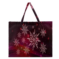Christmas Snowflake Ice Crystal Zipper Large Tote Bag
