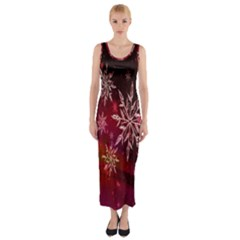 Christmas Snowflake Ice Crystal Fitted Maxi Dress