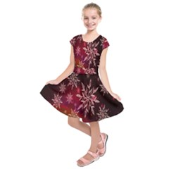Christmas Snowflake Ice Crystal Kids  Short Sleeve Dress