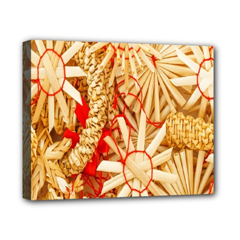 Christmas Straw Xmas Gold Canvas 10  x 8