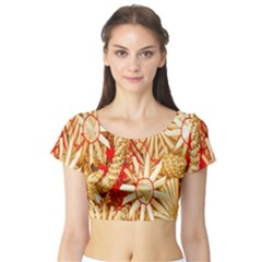 Christmas Straw Xmas Gold Short Sleeve Crop Top (Tight Fit)