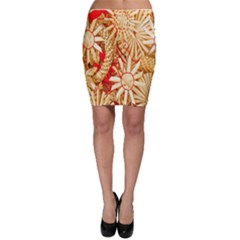 Christmas Straw Xmas Gold Bodycon Skirt