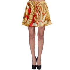 Christmas Straw Xmas Gold Skater Skirt