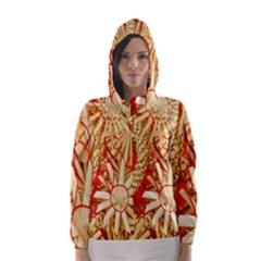 Christmas Straw Xmas Gold Hooded Wind Breaker (Women)