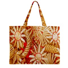 Christmas Straw Xmas Gold Zipper Mini Tote Bag