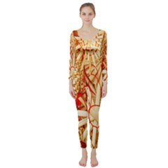 Christmas Straw Xmas Gold Long Sleeve Catsuit