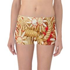 Christmas Straw Xmas Gold Boyleg Bikini Bottoms