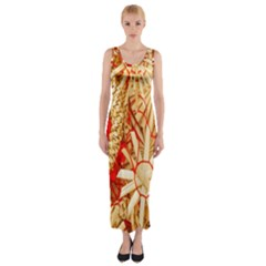 Christmas Straw Xmas Gold Fitted Maxi Dress