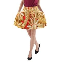 Christmas Straw Xmas Gold A-Line Pocket Skirt