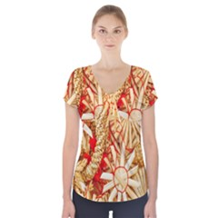 Christmas Straw Xmas Gold Short Sleeve Front Detail Top