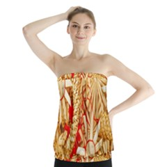 Christmas Straw Xmas Gold Strapless Top