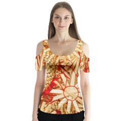 Christmas Straw Xmas Gold Butterfly Sleeve Cutout Tee