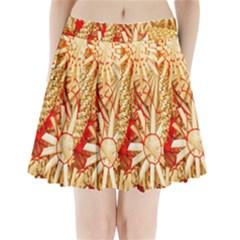 Christmas Straw Xmas Gold Pleated Mini Skirt