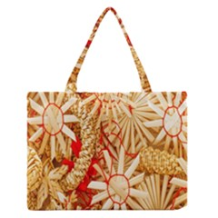 Christmas Straw Xmas Gold Medium Zipper Tote Bag