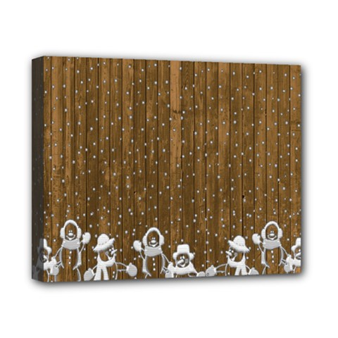 Christmas Snowmen Rustic Snow Canvas 10  X 8