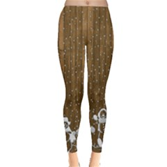 Christmas Snowmen Rustic Snow Leggings