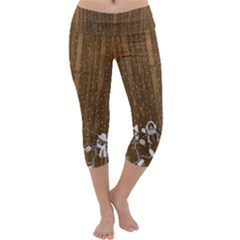 Christmas Snowmen Rustic Snow Capri Yoga Leggings