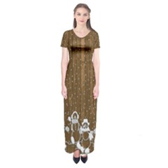 Christmas Snowmen Rustic Snow Short Sleeve Maxi Dress