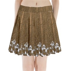 Christmas Snowmen Rustic Snow Pleated Mini Skirt