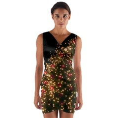 Christmas Tree Wrap Front Bodycon Dress