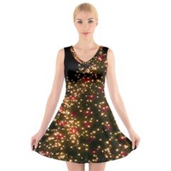 Christmas Tree V Neck Sleeveless Skater Dress