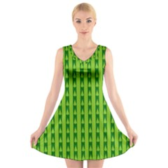 Christmas Tree Background Xmas V Neck Sleeveless Skater Dress