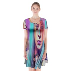 DRAG ON GO Short Sleeve V-neck Flare Dress