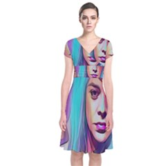 DRAG ON GO Short Sleeve Front Wrap Dress