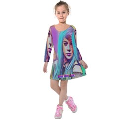 DRAG ON GO Kids  Long Sleeve Velvet Dress