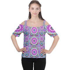 Magic Flowers From  The Paradise Of Lotus Women s Cutout Shoulder Tee