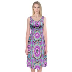 Magic Flowers From  The Paradise Of Lotus Midi Sleeveless Dress
